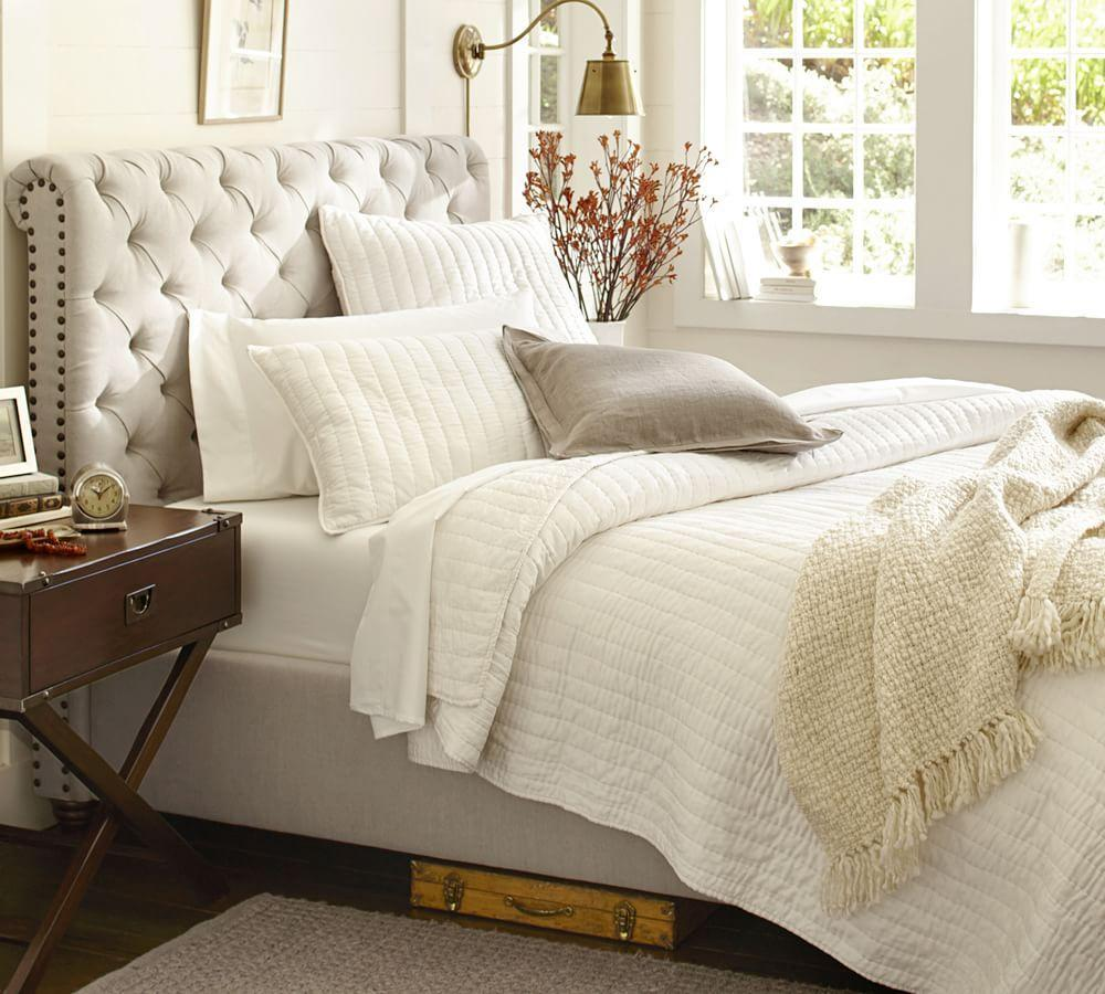 Chesterfield Upholstered Bed Amp Headboard Pottery Barn