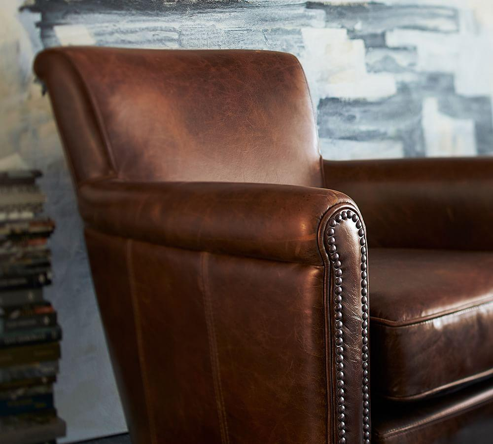 Irving Leather Armchair with Nailheads