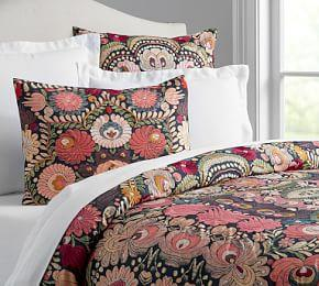 Helena Embroidered Floral Percale Quilt Cover & Pillowcase