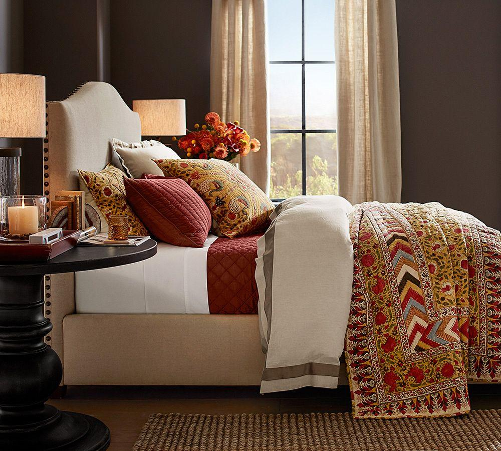 Raleigh Upholstered Camelback Bed With Nailhead Pottery