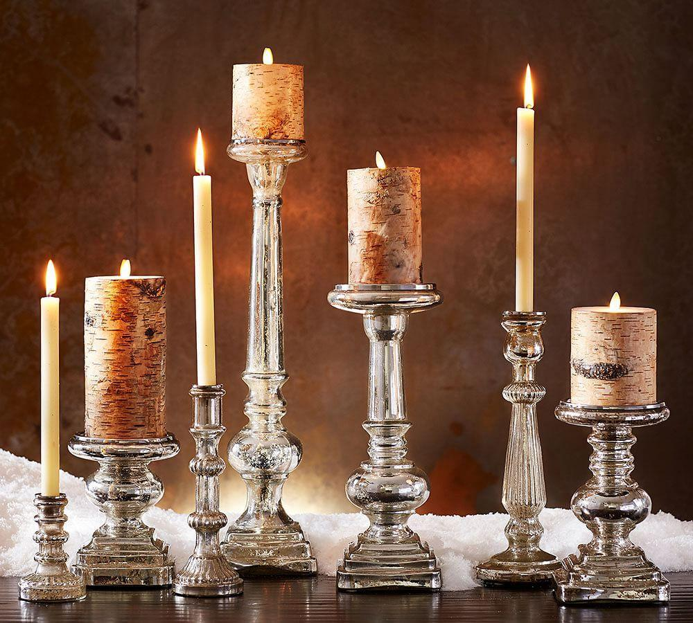 Antique Mercury Glass Pillar Holders Pottery Barn Au