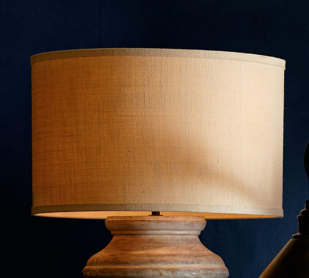 Straight Sided Bleached Burlap Drum Lamp Shade Pottery Barn