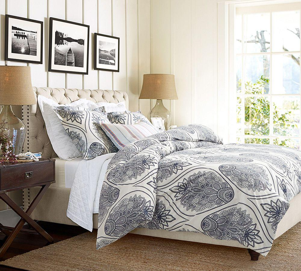 Pottery Barn Linen Headboard: Chesterfield Upholstered Bed & Headboard