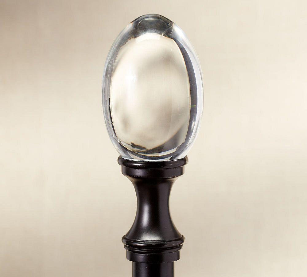 PB Standard Glass Oval Finial & Curtain Rod - Antique Bronze finish