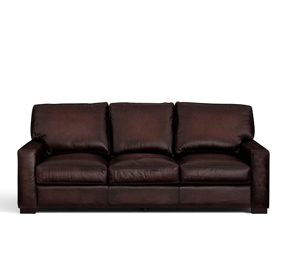 Turner Leather Sofa Square Arm