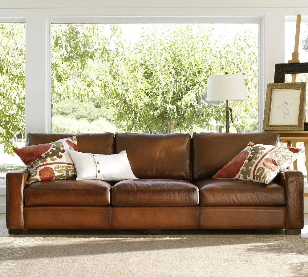 Turner leather sofa pottery barn for Furniture leather sofa