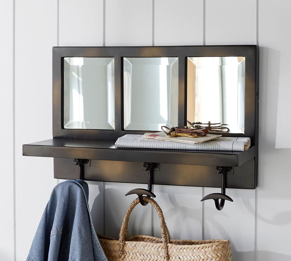 Eagan Bronze Windowpane Entryway Mirror with Hooks