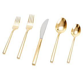 Luna Brushed Gold 5-Piece Cutlery Set