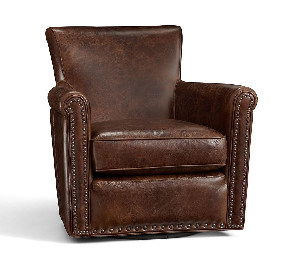 Irving Leather Swivel Armchair With Nailheads Pottery