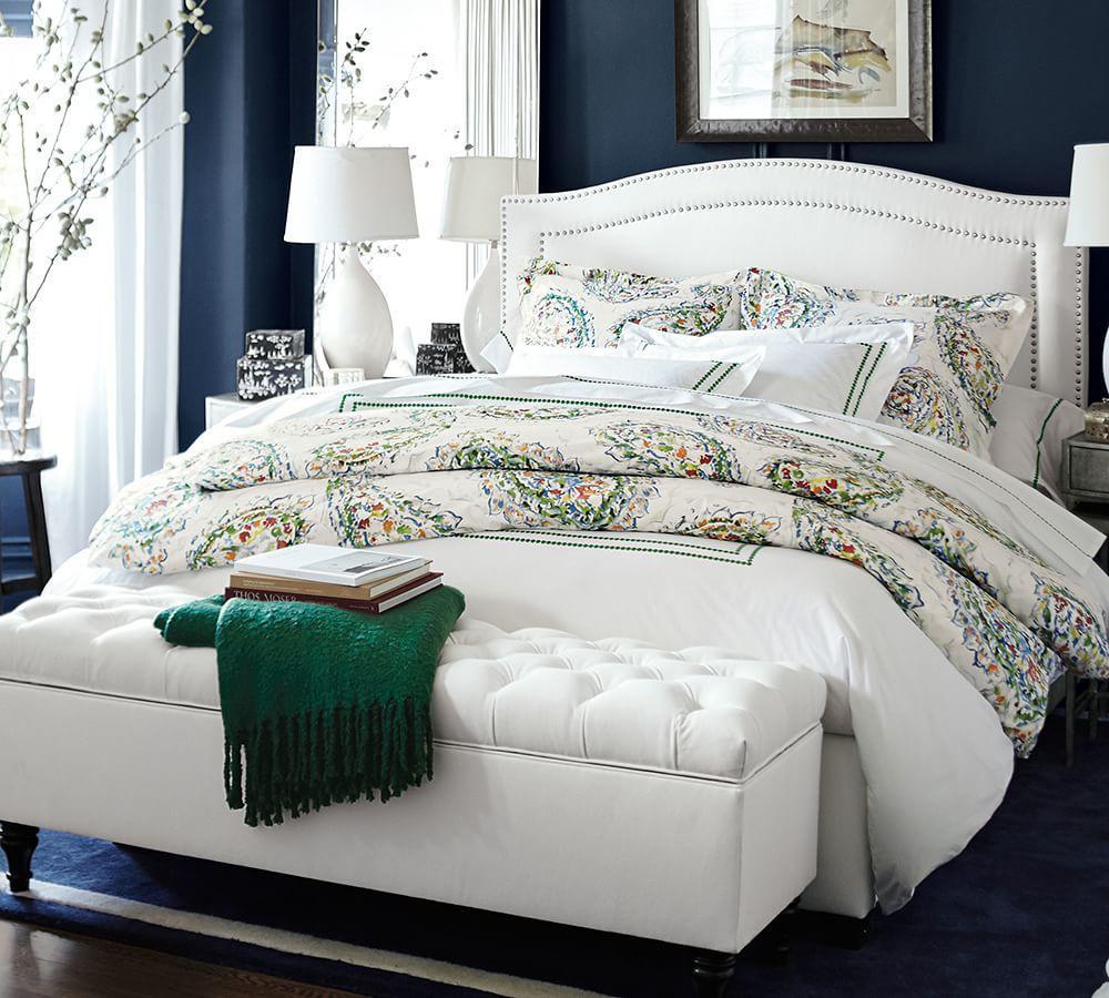 Modus Upholstered Milano Blanket Storage Bench White: Lorraine Tufted Storage Bench