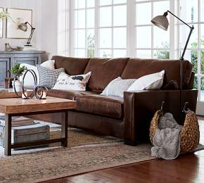 Turner Square Arm Leather Sofa - Burnished Walnut (217 cm)