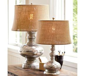 Antique Mercury Glass Table & Bedside Lamps