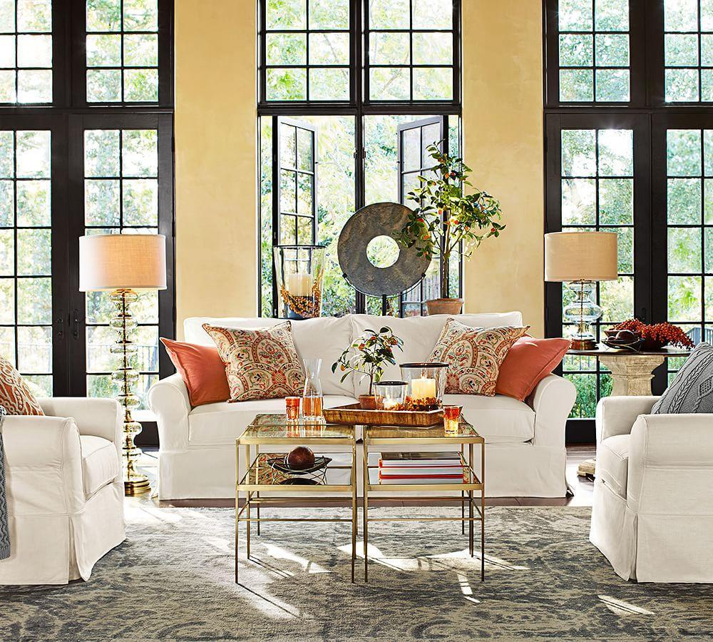 Pottery Barn Living Room With Carpet And Decorative Plant: Jasmine Glass Table Lamp Base