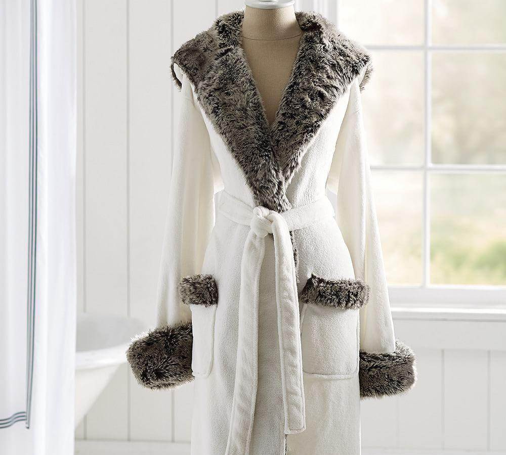 Cosy Faux Fur Robe - Ivory/Grey Ombre