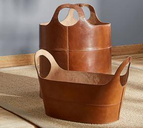 Hayes Leather Storage Baskets