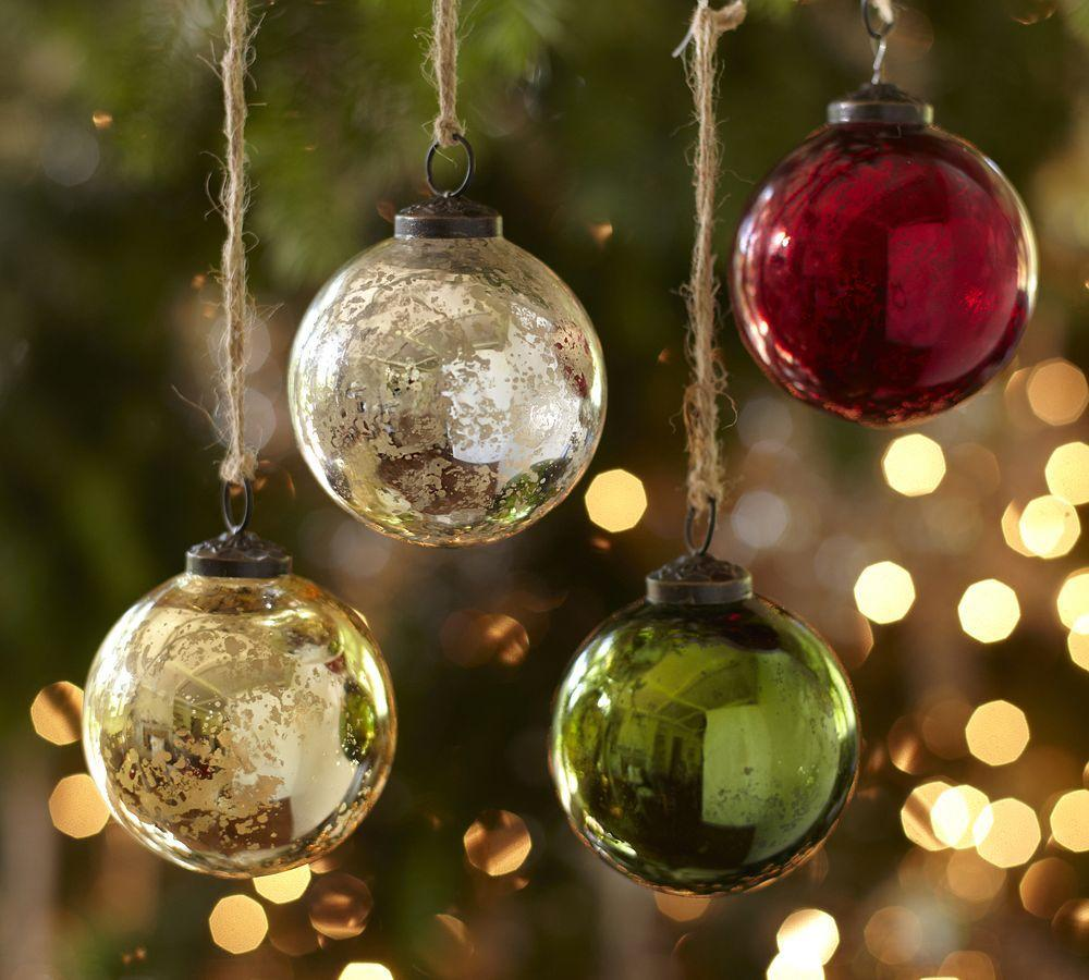 Silver Amp Gold Mercury Glass Ball Ornaments Set Of 6