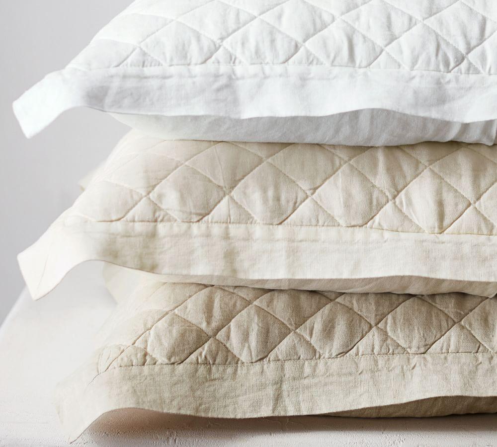 Belgian Flax Linen Diamond Quilt Amp Pillowcases Natural