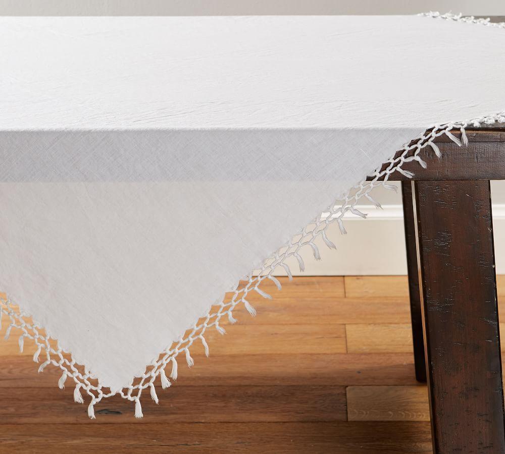 Belgian Linen Fringe Knotted Table Throw - White