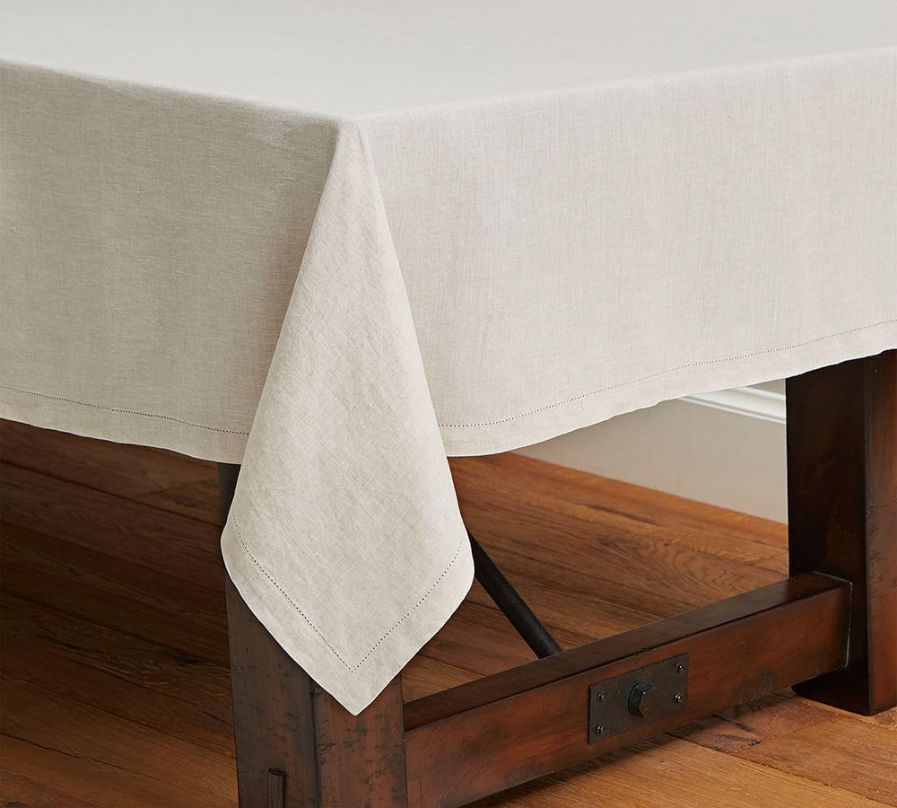 PB Classic Belgian Flax Linen Hemstitch Tablecloth