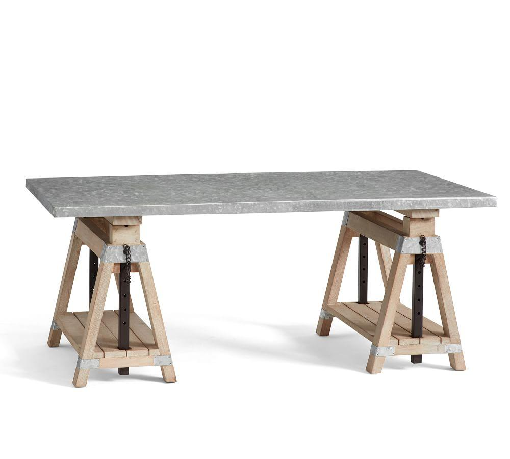 Jackson galvanised sawhorse coffee table desk pottery Sawhorse desk legs