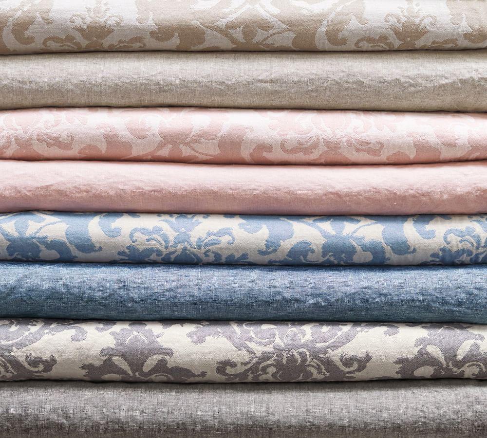 Jacquard Linen Medallion Quilt Cover & Pillowcases - Riviera Blue