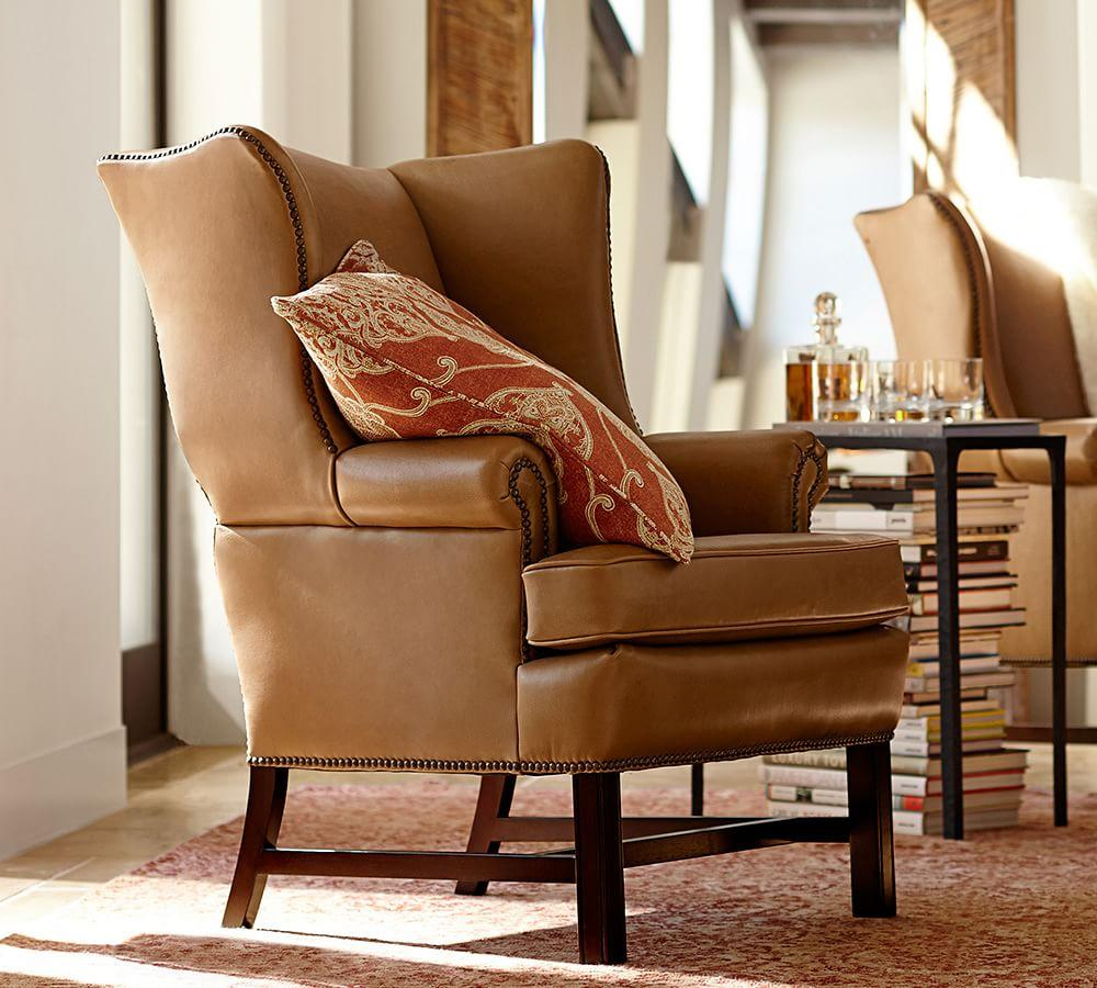 Thatcher Leather Wingback Chair - Toffee