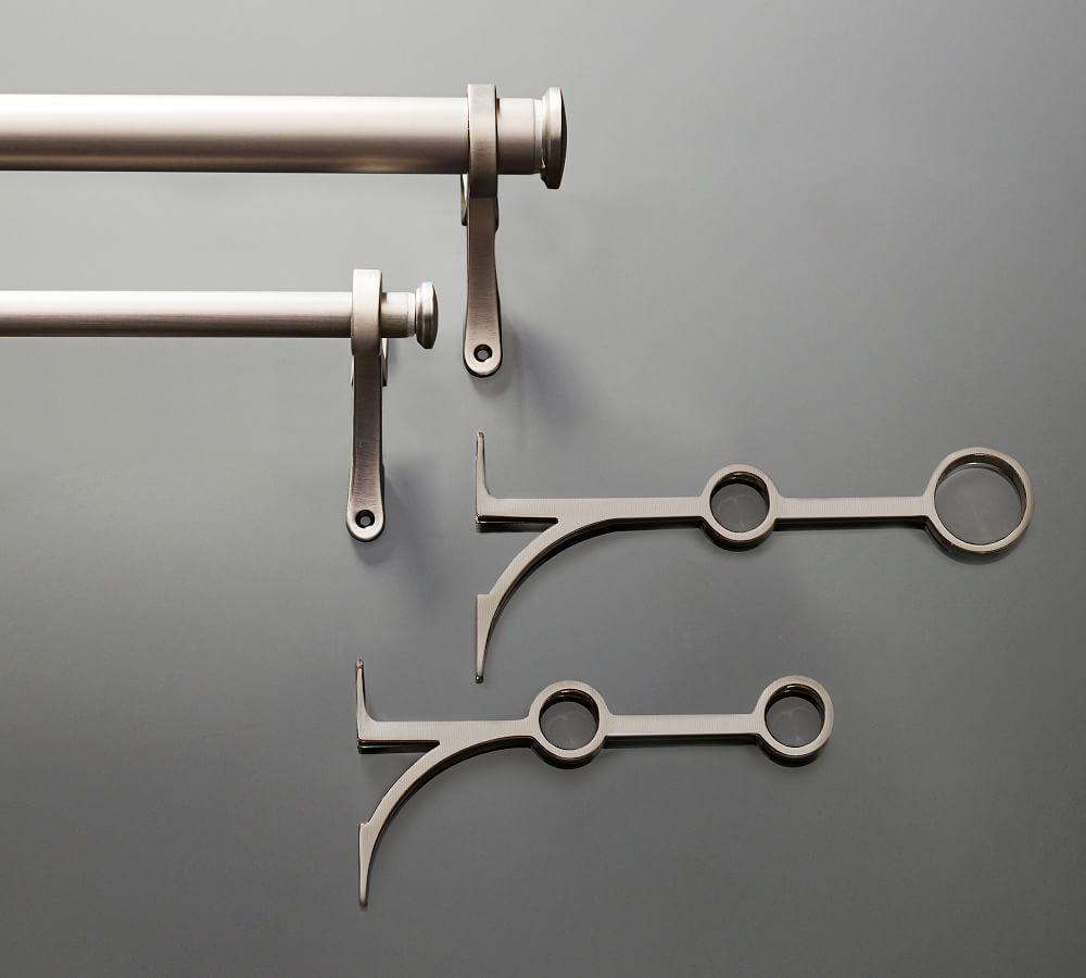 PB Standard Double Curtain Rod & Wall Bracket - Pewter Finish