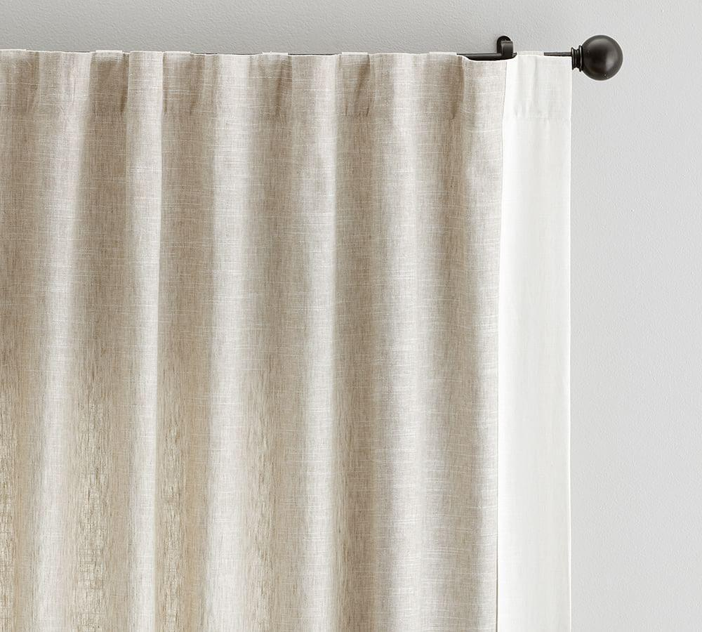 Emery Frame Border Linen Curtain - Flax/Ivory