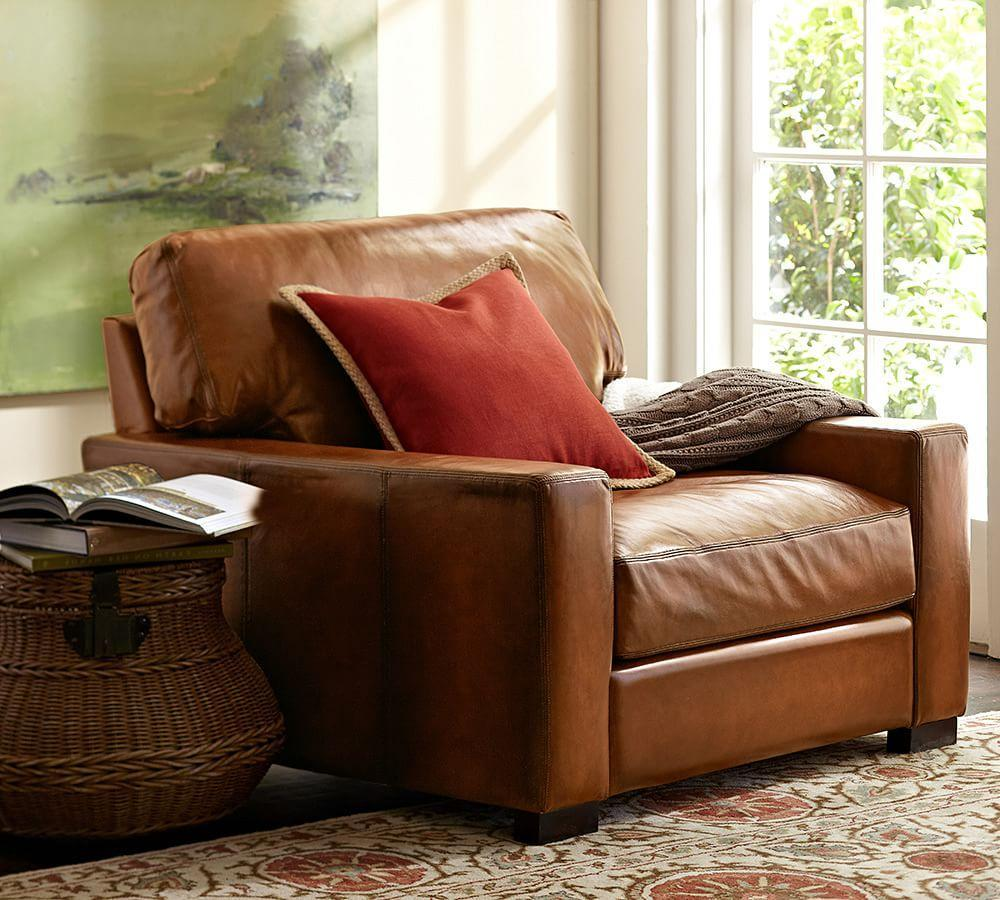 Turner Square Arm Leather Armchair