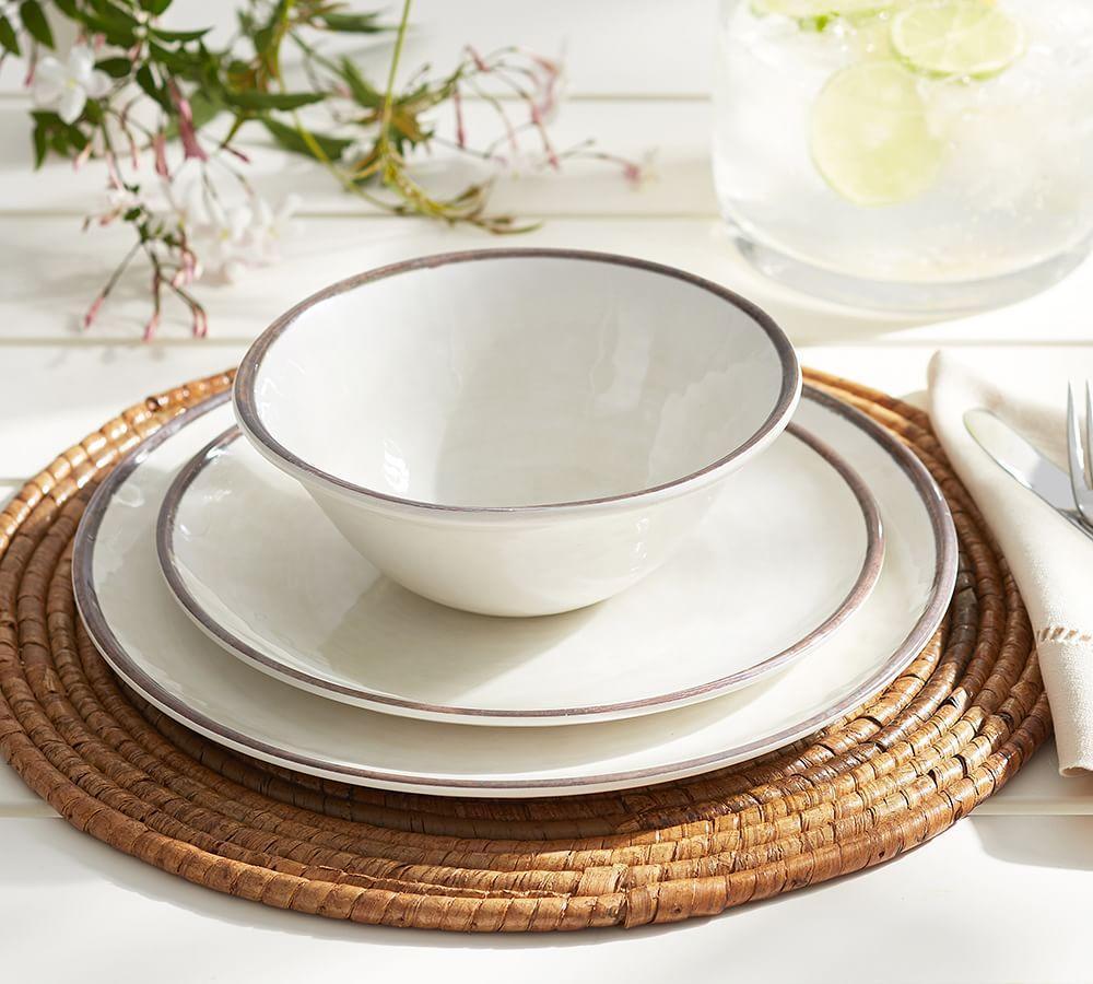 Swirl Melamine Salad Plate - Stone