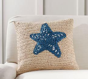 Starfish Icon Embroidered Cushion Cover