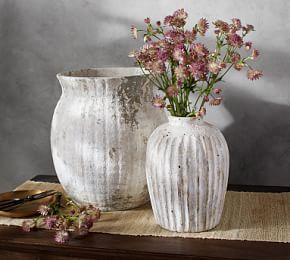 Weathered White Stone Vases