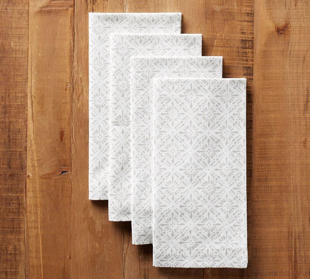 Block Print Diamond Trellis Napkin - Neutral
