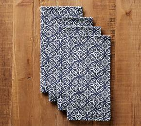 Block Print Diamond Trellis Napkin - Blue