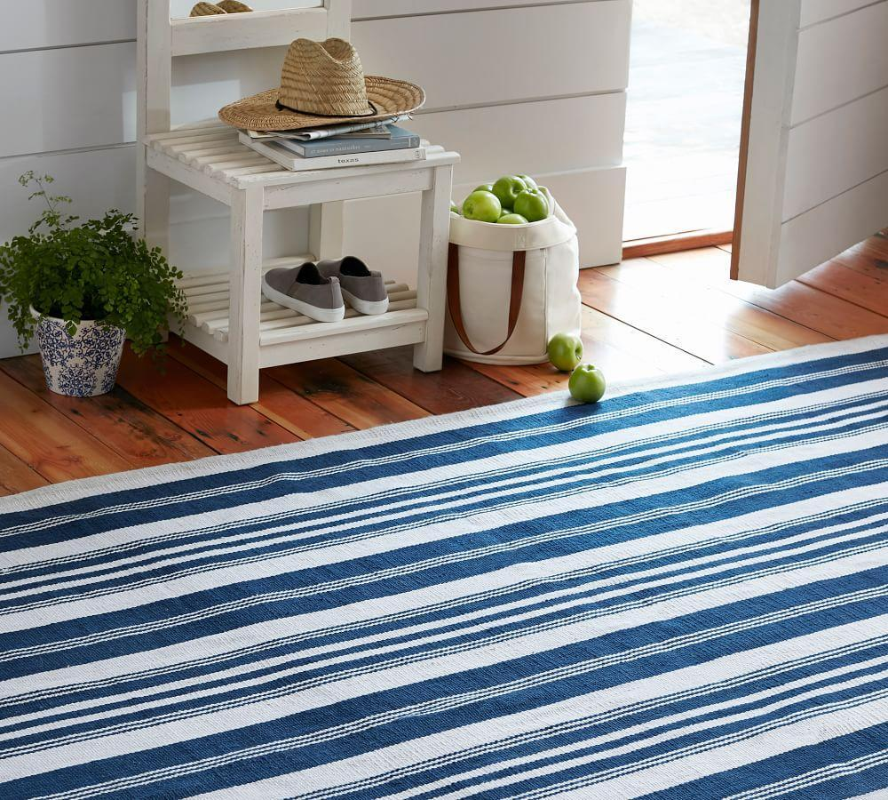 Oxford Stripe Recycled Yarn Indoor/Outdoor Rug - Blue | Pottery Barn AU
