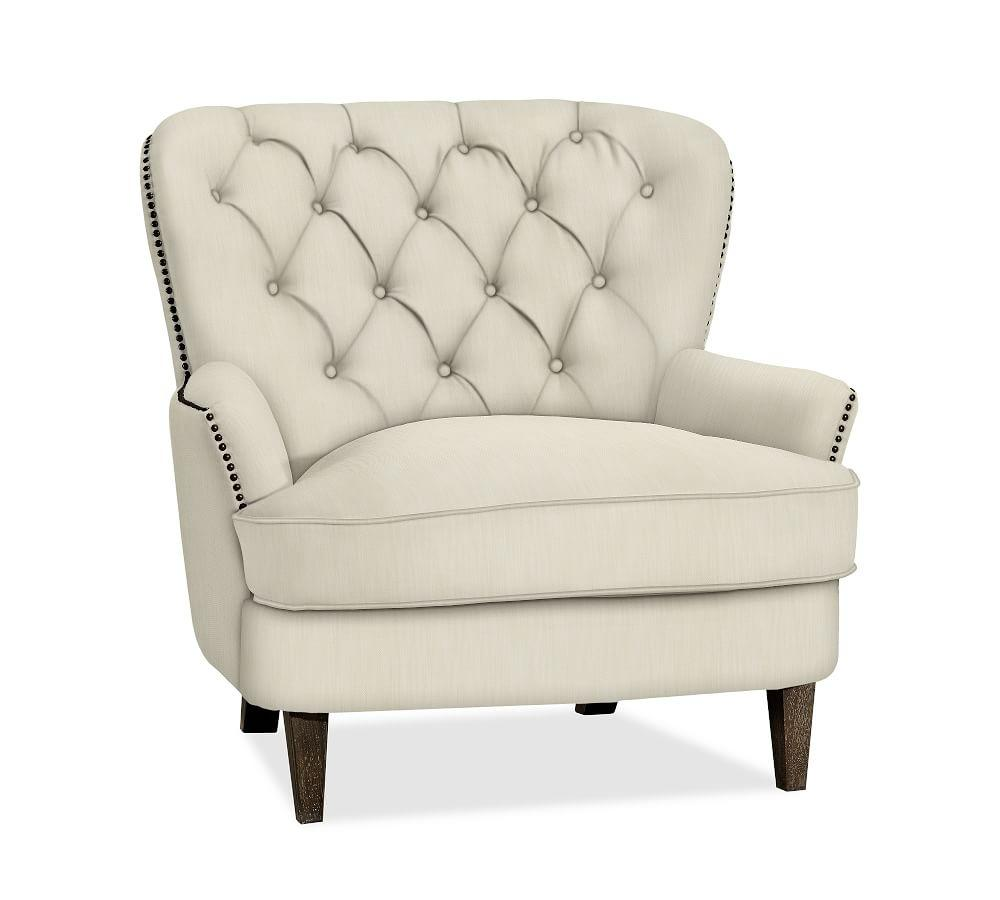 Cardiff Tufted Upholstered Armchair - Ivory | Pottery Barn AU