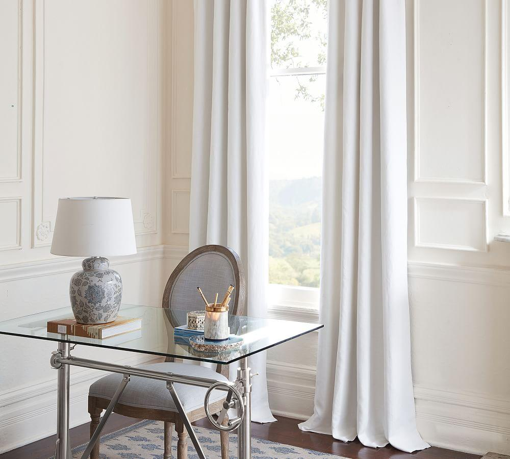 Classic Belgian Flax Linen Curtain - White