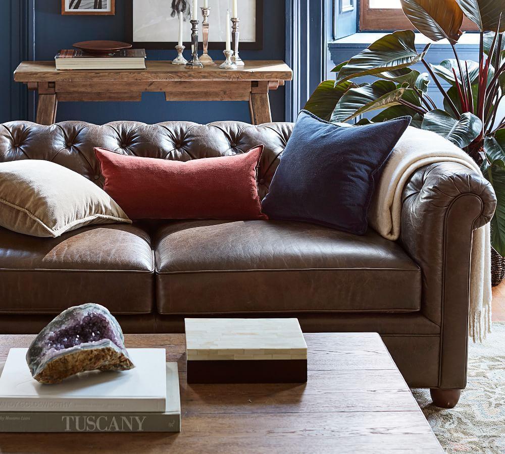 Chesterfield Leather Sofa 218 Cm Pottery Barn Au