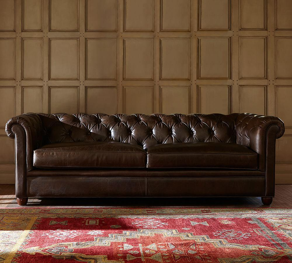 Chesterfield Leather Sofa (218 cm) | Pottery Barn AU