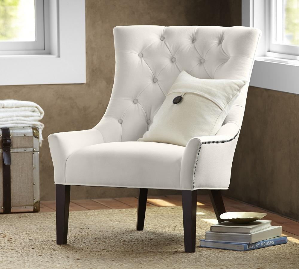 Hayes Tufted Upholstered Armchair Ivory Pottery Barn Au