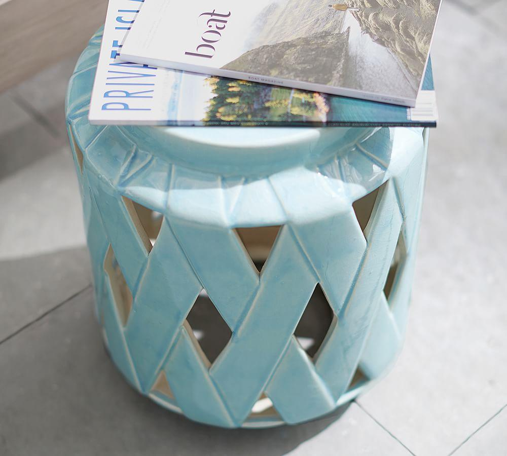 Lattice Ceramic Accent Table Pottery Barn Au