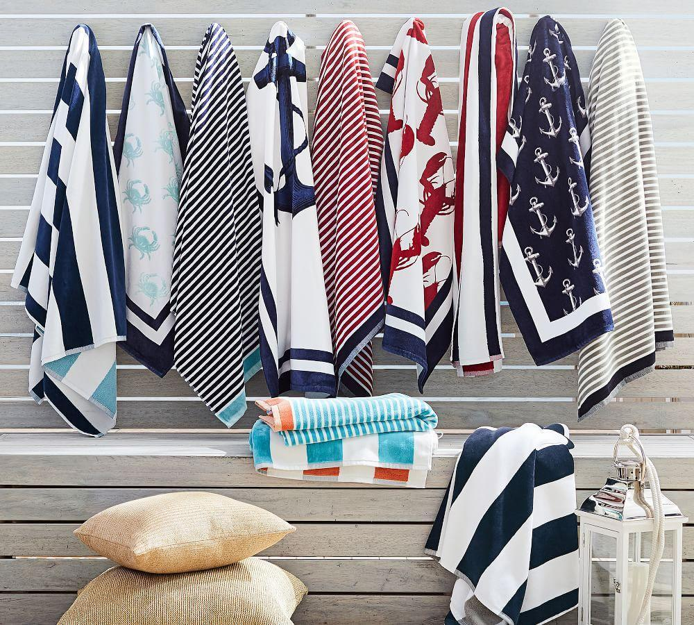 Reversible Awning Stripe Beach Towel - Navy/Seabreeze