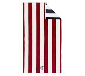 Reversible Awning Stripe Beach Towel, Red/Navy