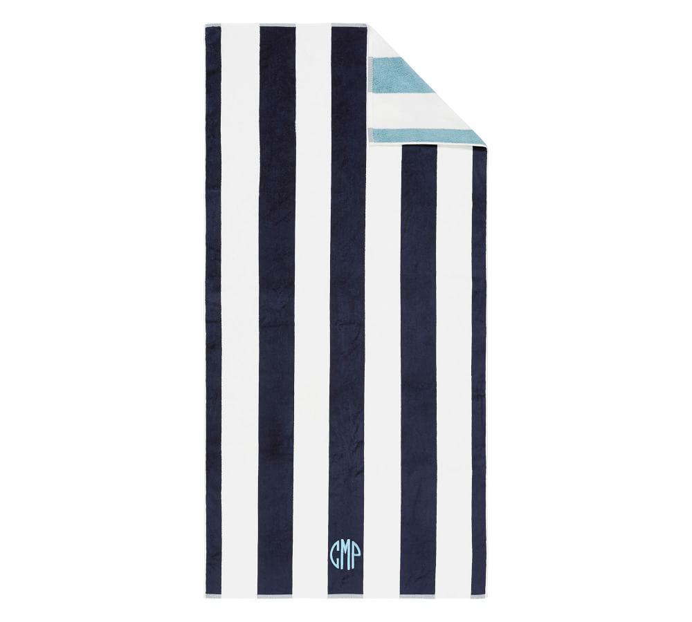 Reversible Awning Stripe Beach Towel - Navy/Seabreeze