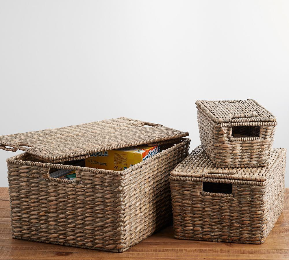Charleston Lidded Basket, Grey