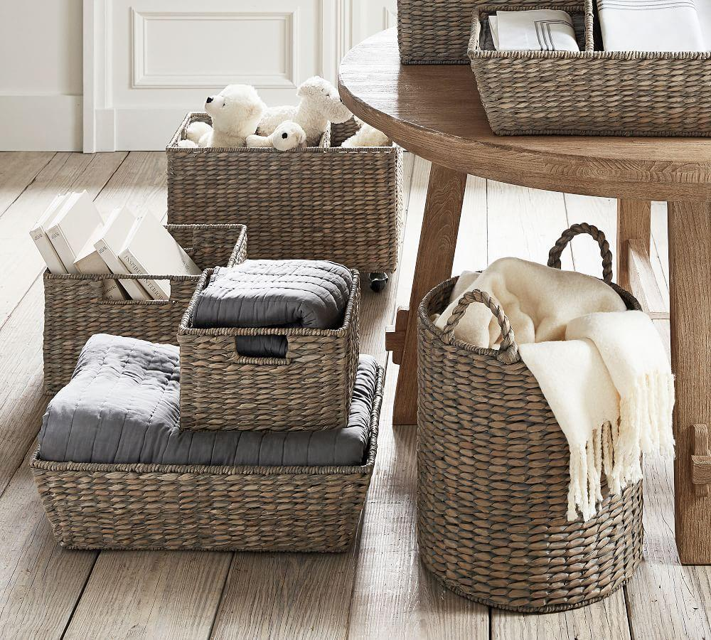 Charleston Basket Tote, Grey