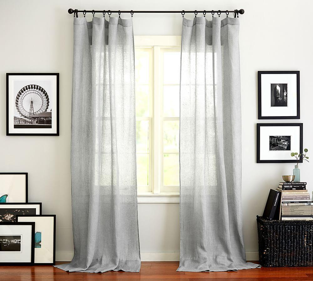 Belgian Flax Linen Sheer Curtain - Grey