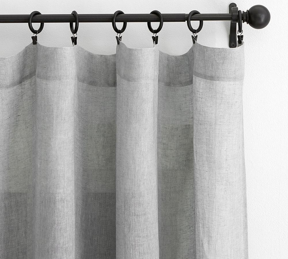 Belgian Flax Linen Sheer Curtain - Grey