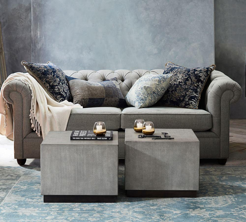 Chesterfield Upholstered Grand Sofa - Chateau Blue (243 cm ...