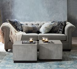 Chesterfield Upholstered Grand Sofa - Chateau Blue (243 cm)